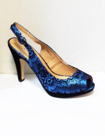 Sandale dama albastre cu insertii de negru, cu platforma si toc de 9 cm