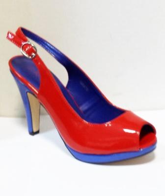 Sandale dama rosii cu insertii de albastru, cu platforma si toc de 9 cm