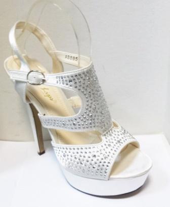 Sandale dama albe, elegante, cu platforma si strasuri
