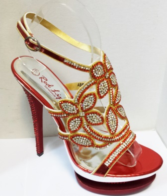 Sandale dama rosii, elegante, cu strasuri argintii