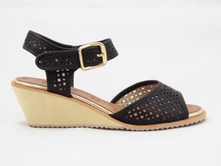 Sandale dama negre material perforat cu talpa ortopedica