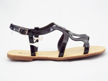 Sandale dama negre, lac, cu barete