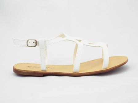 Sandale dama albe, lac, cu barete