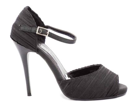 Sandale dama negre, elegante,cu toc de 10 cm, satin