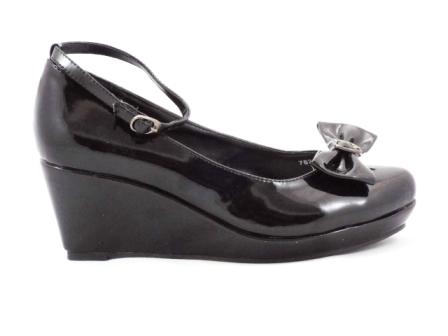 Pantofi dama negri, ortopedici, din piele ecologica lacuita, cu bareta glezna.