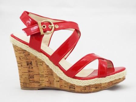 Sandale dama rosii material lac, cu talpa ortopedica
