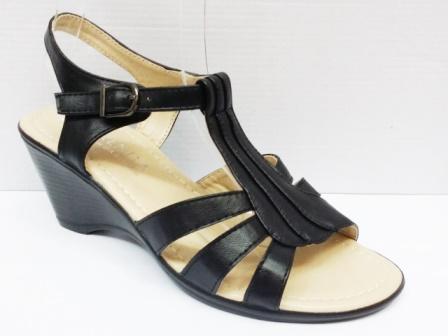 Sandale dama negre, toc de 5 cm, ortopedice, model trei barete.