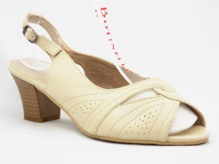 Sandale dama bej , toc de 5 cm, ortopedice, deschise fata-spate
