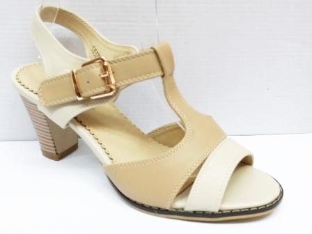Sandale dama bej, in doua nuante, toc de 5 cm, ortopedice
