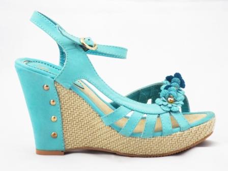 Sandale dama albastre, ortopedice, cu toc de 10 cm