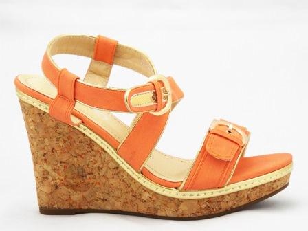 Sandale dama portocalii cu talpa ortopedica si catarame reglabile