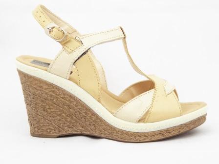 Sandale dama bej din piele naturala cu talpa ortopedica