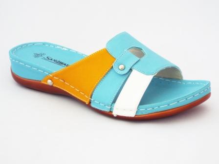 Papuci dama turcoaz cu insertii de alb si portocaliu