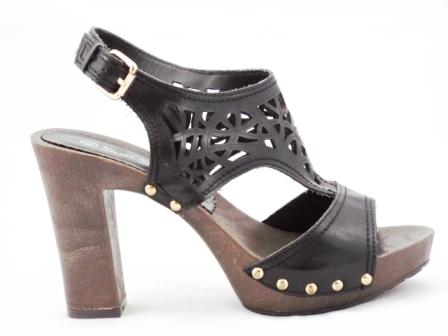 Sandale dama negre, toc de 10 cm, perforate, cu prindere pe tinte.