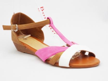 Sandale dama maro cu alb si roz, elegante