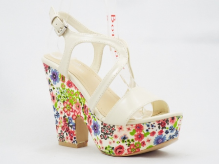 Sandale dama albe, ortopedice, cu imprimeu multicolor pe suprafata exterioara a tocului si a talpii