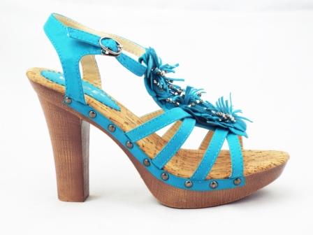 Sandale dama albastre cu toc de 12 cm si platforma de 3 cm