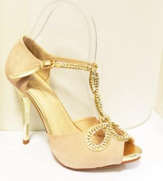 Sandale dama bej cu auriu, toc inalt, elegante