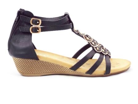Sandale dama negre, ortopedice, curele negre