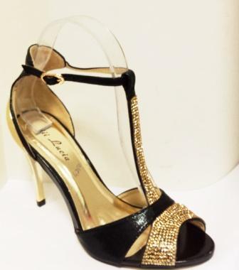 Sandale dama negre cu auriu, lacuite, toc inalt, elegante, cu strasuri