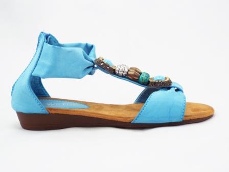 Sandale dama albastre-turcoaz cu accesorii tip margele, talpa joasa