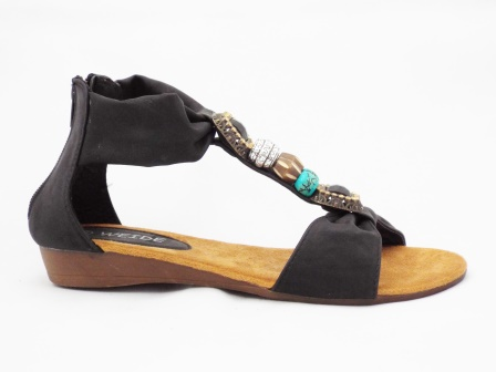 Sandale dama negre cu accesorii colorate