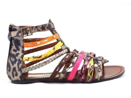 Sandale dama maro cu insertii multicolore, talpa joasa