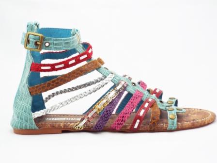 Sandale dama albastre-turcoaz cu insertii multicolore, talpa joasa