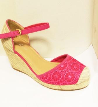 Sandale dama roz din dantela,cu talpa ortopedica