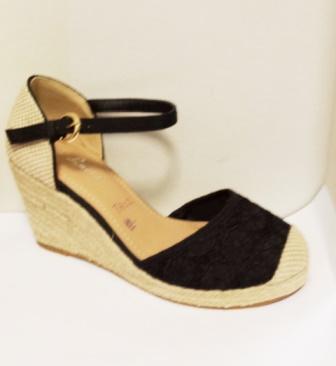 Sandale dama negre din dantela,cu talpa ortopedica