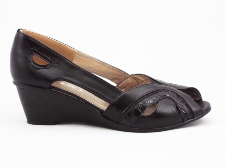 Sandale dama negre, talpa ortopedica IOANA