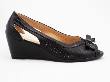 Sandale dama negre, talpa ortopedica, perforate