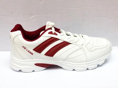 Adidasi dama albi, talpa comfortabila cu insertii de culoare grena
