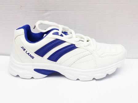 Adidasi dama albi, talpa comfortabila cu insertii de culoare albastra