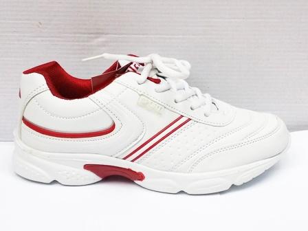 Adidasi dama albi, talpa comfortabila cu insertii de culoare rosie