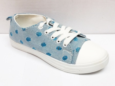 Tenesi Dama Albastri  Material Jeans Cu Model Tip Bulina