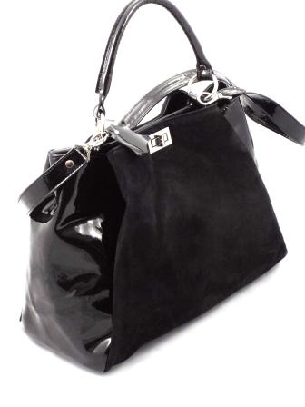 Geanta dama neagra CORY piele naturala premium lacuita & piele intoarsa