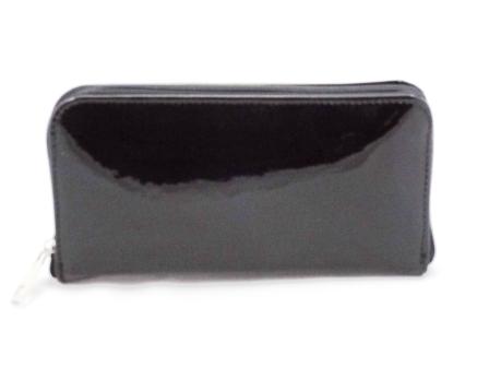 Portofel dama negru din piele naturala lacuita cu fermoar, bine compartimentat