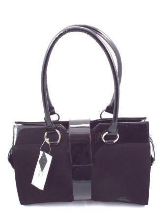 Geanta dama neagra CORY eleganta, din piele naturala lacuita premium & piele intoarsa