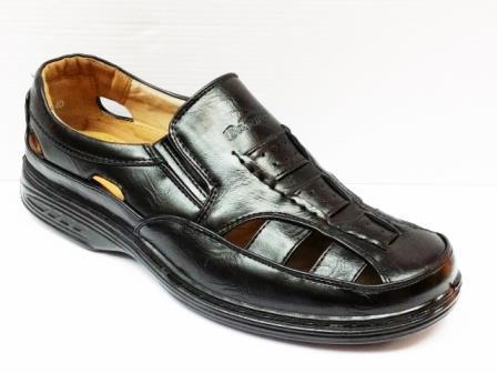 Sandale barbati negri cu zone perforate Tonne