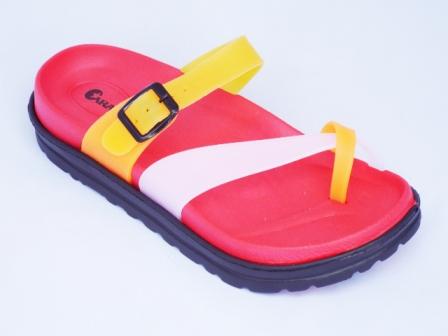 Papuci dama rosii de plaja din material siliconic
