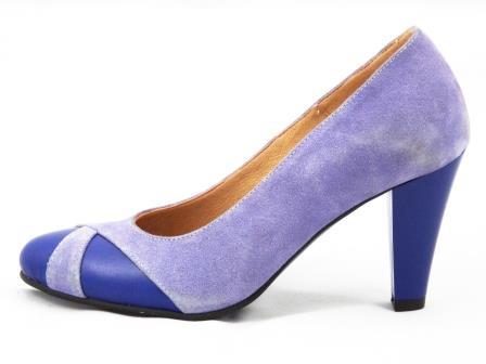 Pantofi dama mov deschis/albastru, din piele antilopa si piele naturala, cu toc de 8 cm