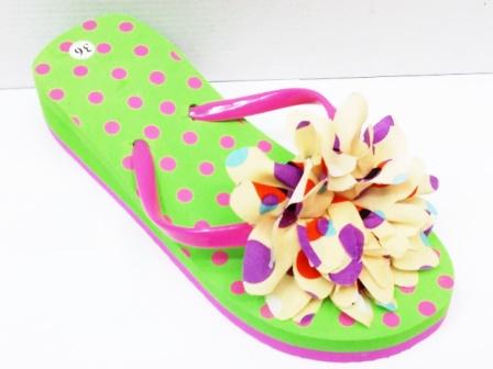 Papuci dama verzi ,de plaja, cu accesoriu tip floare