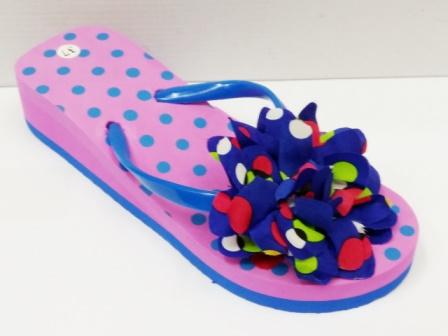 Papuci dama roz cu albastru ,de plaja, cu accesoriu tip floare