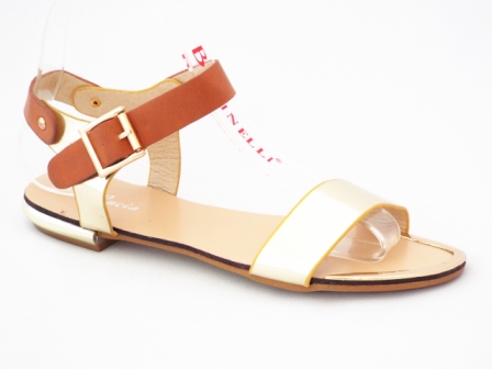 Sandale dama aurii cu maro
