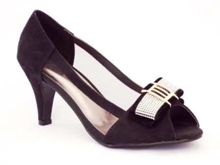 Sandale dama negre,cu toc de 5 cm, cu strasuri aplicate.
