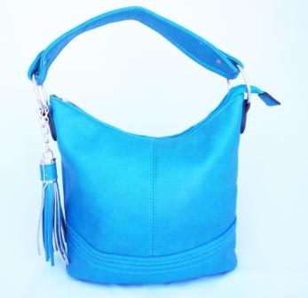 Geanta dama bleu, accesorii metalice aurii