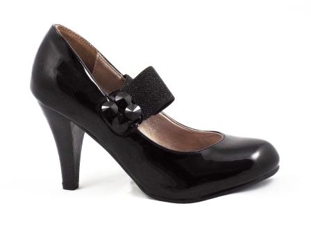 Pantofi dama negri, eleganti , cu toc, material lacuit, cu bareta elastica si accesorii de aceeasi culoare.
