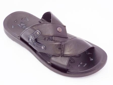 Papuci barbati negri, cu accesorii tip tinte