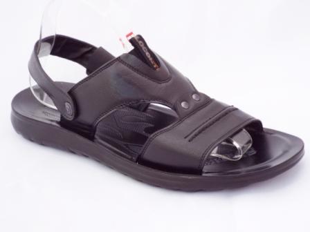 Sandale Barbati Negre Cu Prindere Pe Bareta Pozitionata In Spate